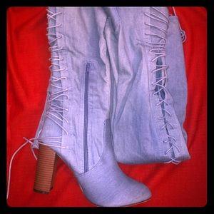 {J.Adams Shoes}🦩Denim Thigh High LaceUp Koko Boot